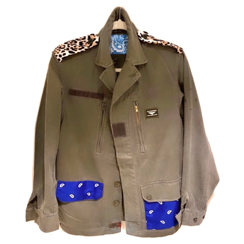 Blue Bandana & Leopard Military Jacket