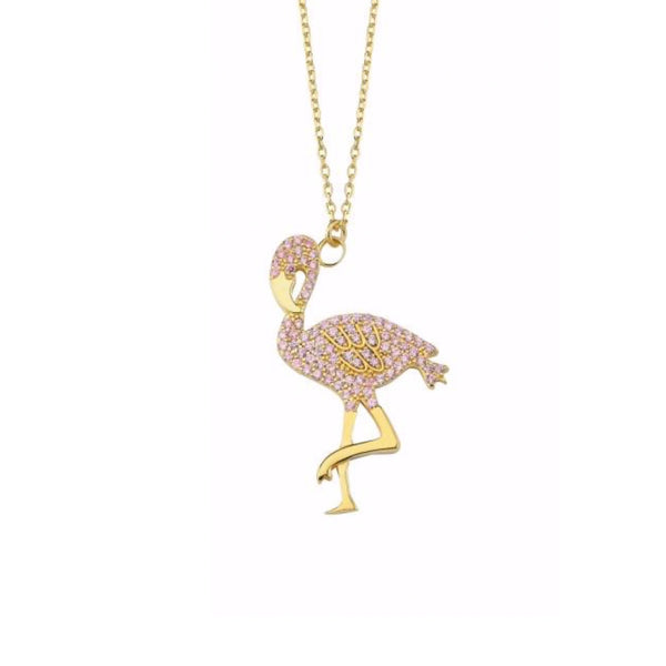 Pave Pink Flamingo Necklace