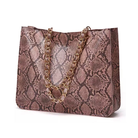 Snake Skin Style with Chains Oversize Bag