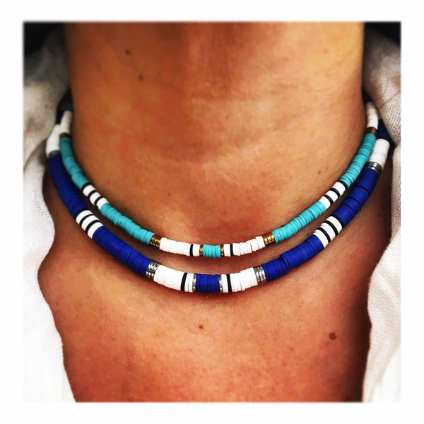Gucci Style Royal Blue Snake Mix Custom Beaded Discs Choker Necklace