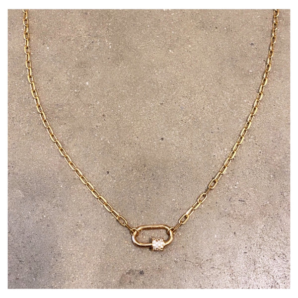 Mini Pave Padlock Choker Necklace