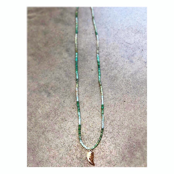 Chrysoprase Gold Tusk Custom Beaded Mid-length Necklace