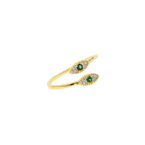 Double Pave Eye Adjustable Ring