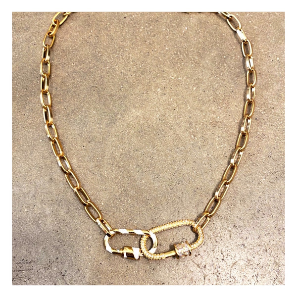 Double Padlock Céline Chain Necklace