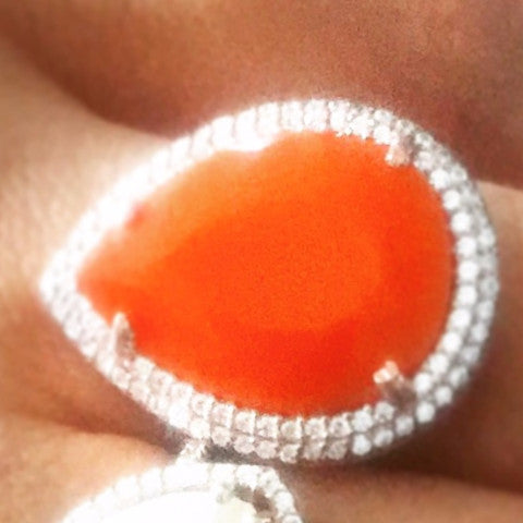SALE Orange Cocktail Ring