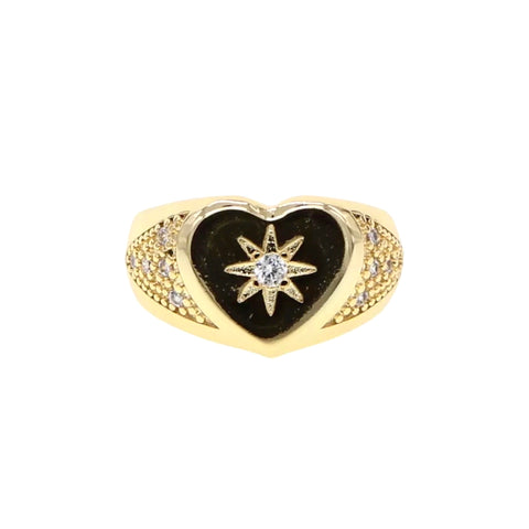 Heart Shape with Starburst Signet Ring
