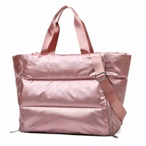 Oversize Puffed Nylon Pink Tote Bag