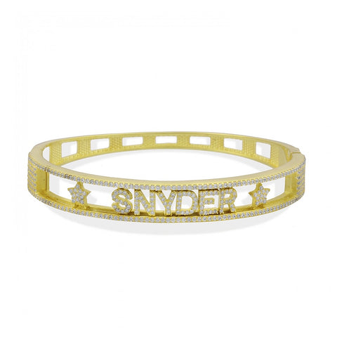 Sliding Pave Name With 2 Stars Bangle