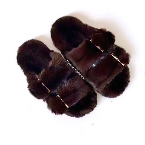 Vegan Choco Black Stripes Arizona Slippers