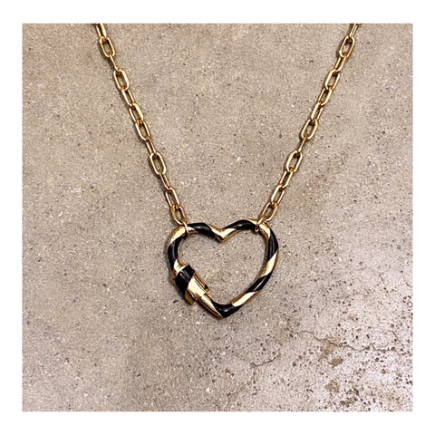 Stripe Enamel Small Heart Padlock Choker Necklace