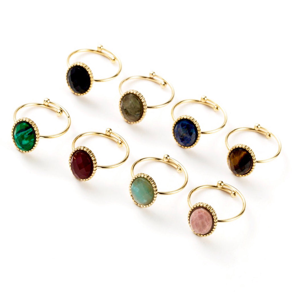 Cabochon Gem Adjustable Ring