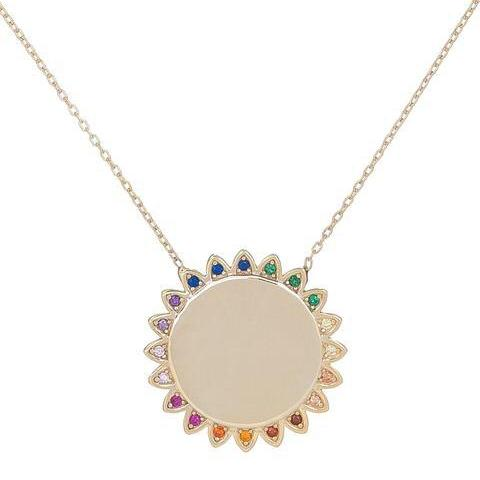 Large Sunflower Multicolor Stones Necklace