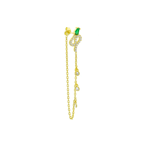 SALE 3 Dangling Cz Pave Snake Stud Earring