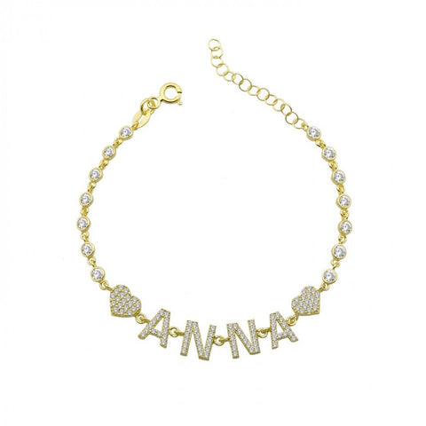 By the Yard Pave 2 Hearts Name Bracelet