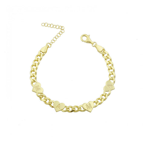 Cuban Links Engraved MAMA Heart Bracelet