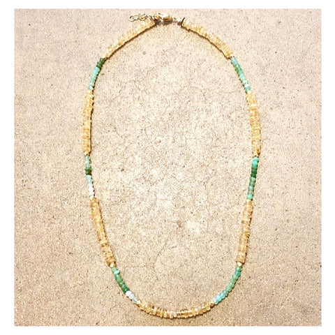 Citrine & Chrysoprase RT Mazal Mid-length Necklace