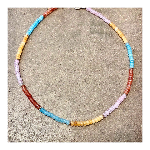 Assorted Aqua, Pink & Oranges Custom Beaded Choker Necklace