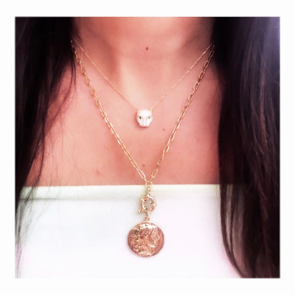 Round Toggle Vintage Coin Link Chain Necklace