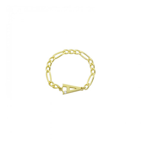 Letter Figaro Chain Ring