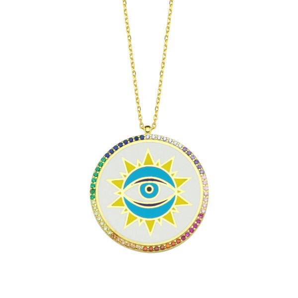 White Enamel Shining Eye Disc Necklace
