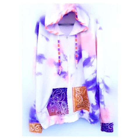 SALE Bandana Mix Purple Tie Dye Hoodie