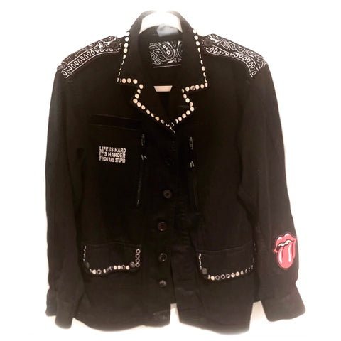 Bandana Shoulders & Studed Black Military Jacket