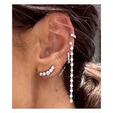 Long 12 Bezel Cz Dangling Stud Earrings