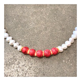 Pearls & Hot Pink Custom Beaded Necklace