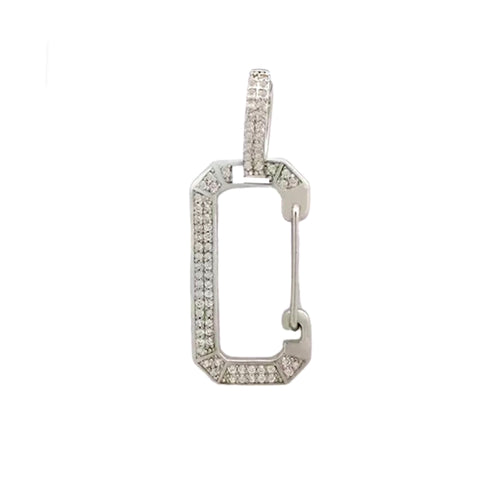 Pave Hoop All Metal Pave Snap Hook Earring
