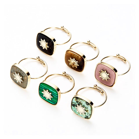 SALE Square Gem Starburst Adjustable Ring
