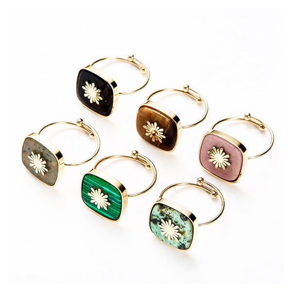 Square Gem Starburst Adjustable Ring