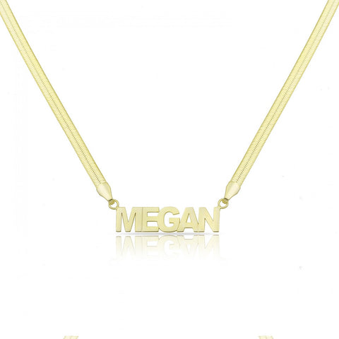 Laser Cut Name in Snake Skin Style Necklace