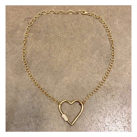 Grand collier cadenas coeur