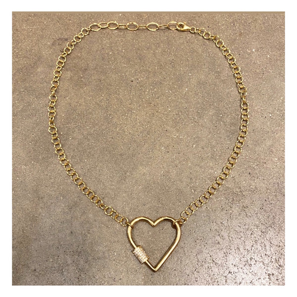 Large Heart Padlock Necklace