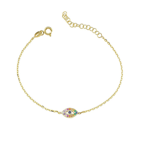 SALE Mini Rainbow Pave Eye Anklet