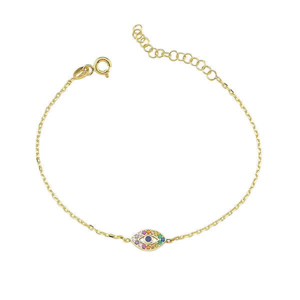 Mini Rainbow Pave Eye Anklet