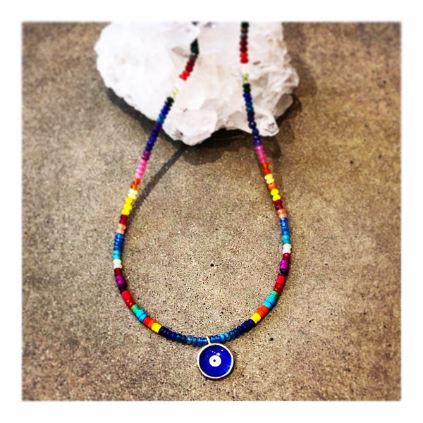 Dark Blue Eye MexiCali Custom Beaded Necklace