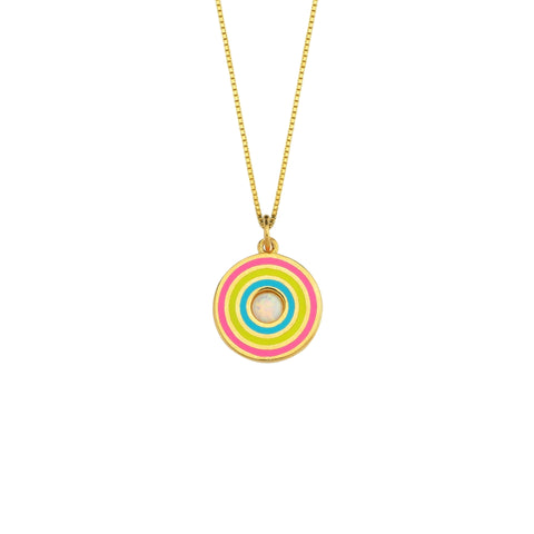 Swirl Enamel Disc  Opal Necklace