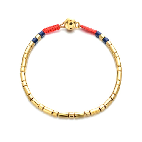 Button Closure Thin Tubular Enamel Bracelet
