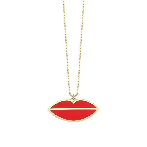 Enamel Red Lips Necklace
