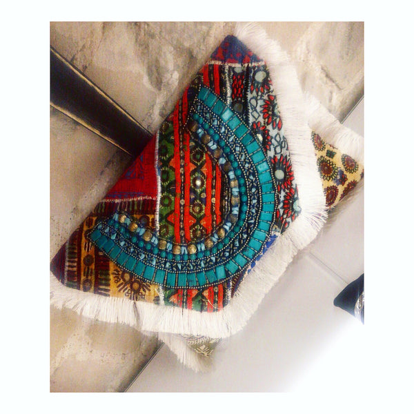 CELIA Turquoise Fringed Beaded Clutch