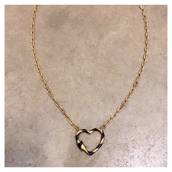 Small Enamel Stripe Heart Padlock Choker Necklace