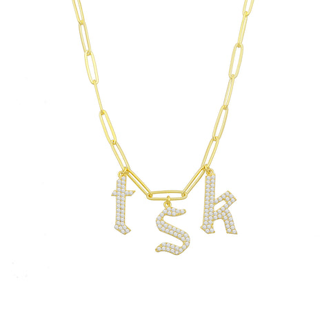 Large Pave Lower Case Wide Link Chain Necklace
