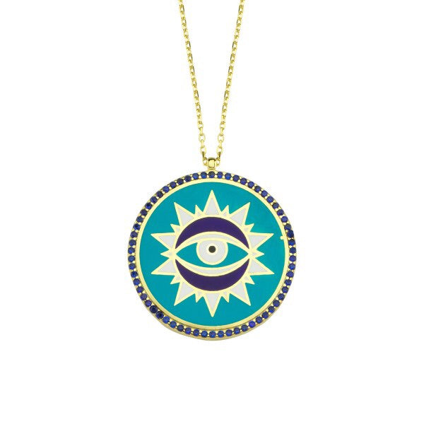 Blue Enamel Shining Eye Disc Necklace
