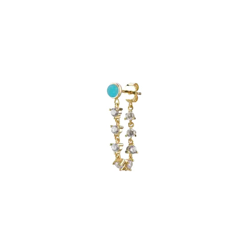Turquoise Cz Chain Stud Earring