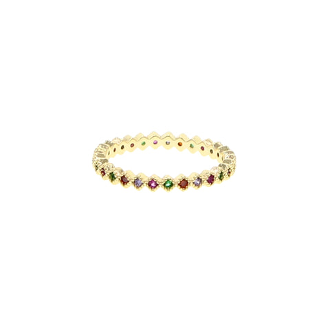 SALE Multicolor Diamond Shape Eternity Band Ring