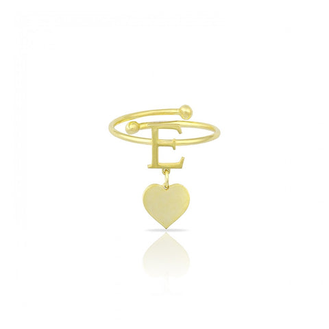 Adjustable Letter with Heart Charm Ring