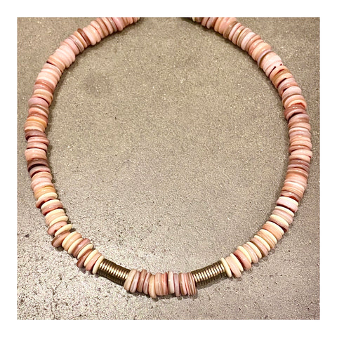 Wide Pink Abalone Discs Custom Beaded Necklace