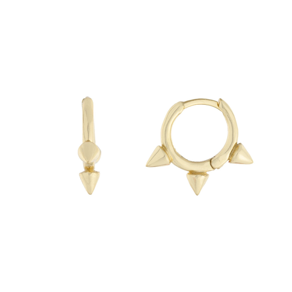 Plain 3 Spikes Hoop Earrings