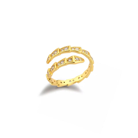 Adjustable Pave Python Ring